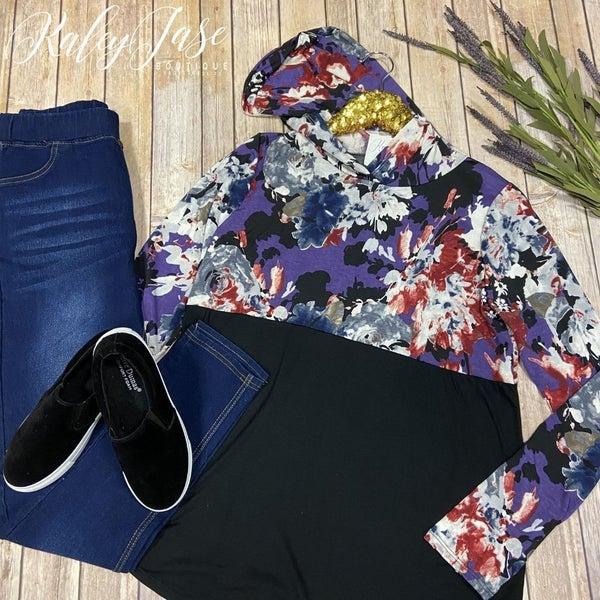 SIL Black & Purple Floral Hoodie