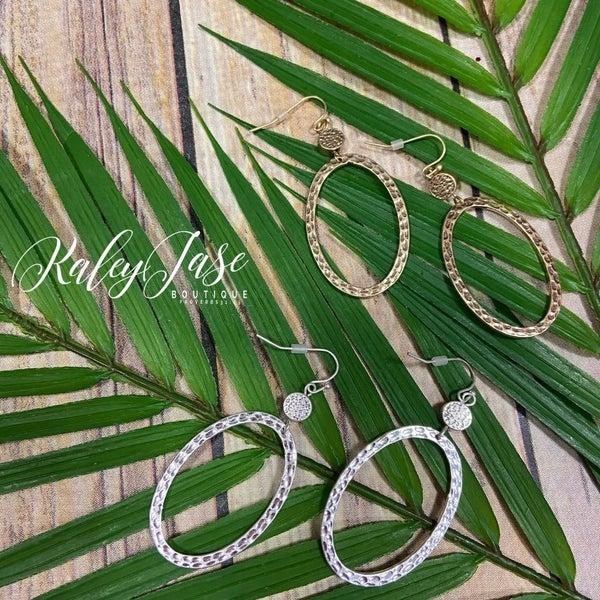 Oval Hammered Dangle Earrings -B8
