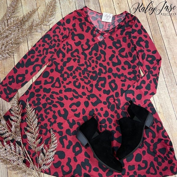 Red Criss Cross Leopard Dress