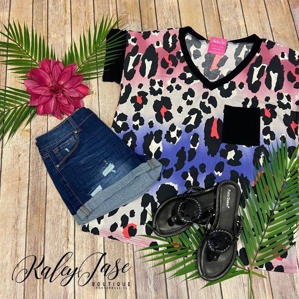 SIL Black Ombre Leopard Pocket Top