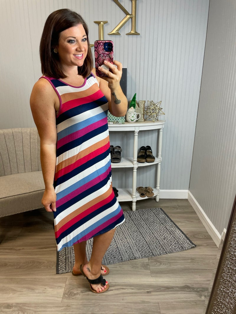 BB Casual Stripe Sleeveless Dress