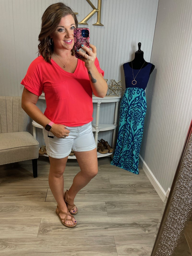 SIL Solid  Neon Coral Pocket Top
