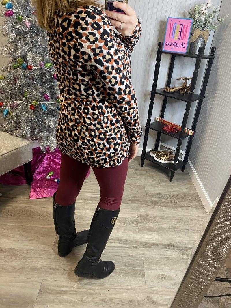 SIL Rust Leopard Burgundy Criss Cross Top *Final Sale*