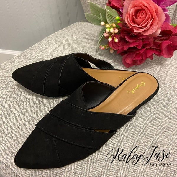 Black Suede Wrap Mules