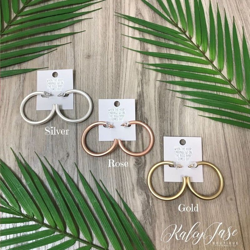 Designer Inspirated Matte Thick Hoop Earrings -YB1