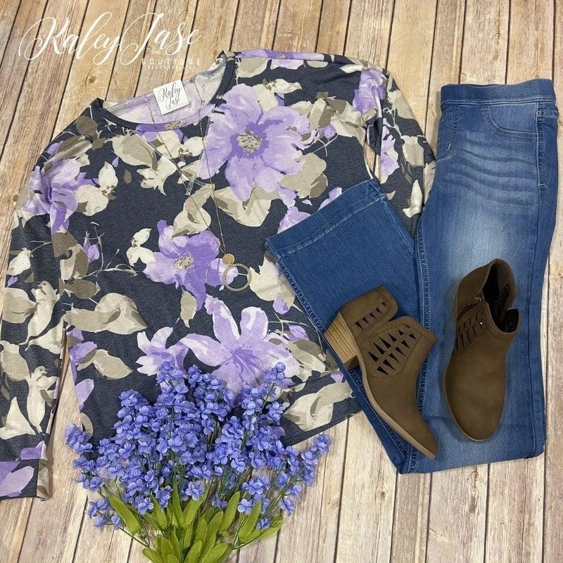SIL Purple Floral Raglan Sweatshirt *Final Sale*