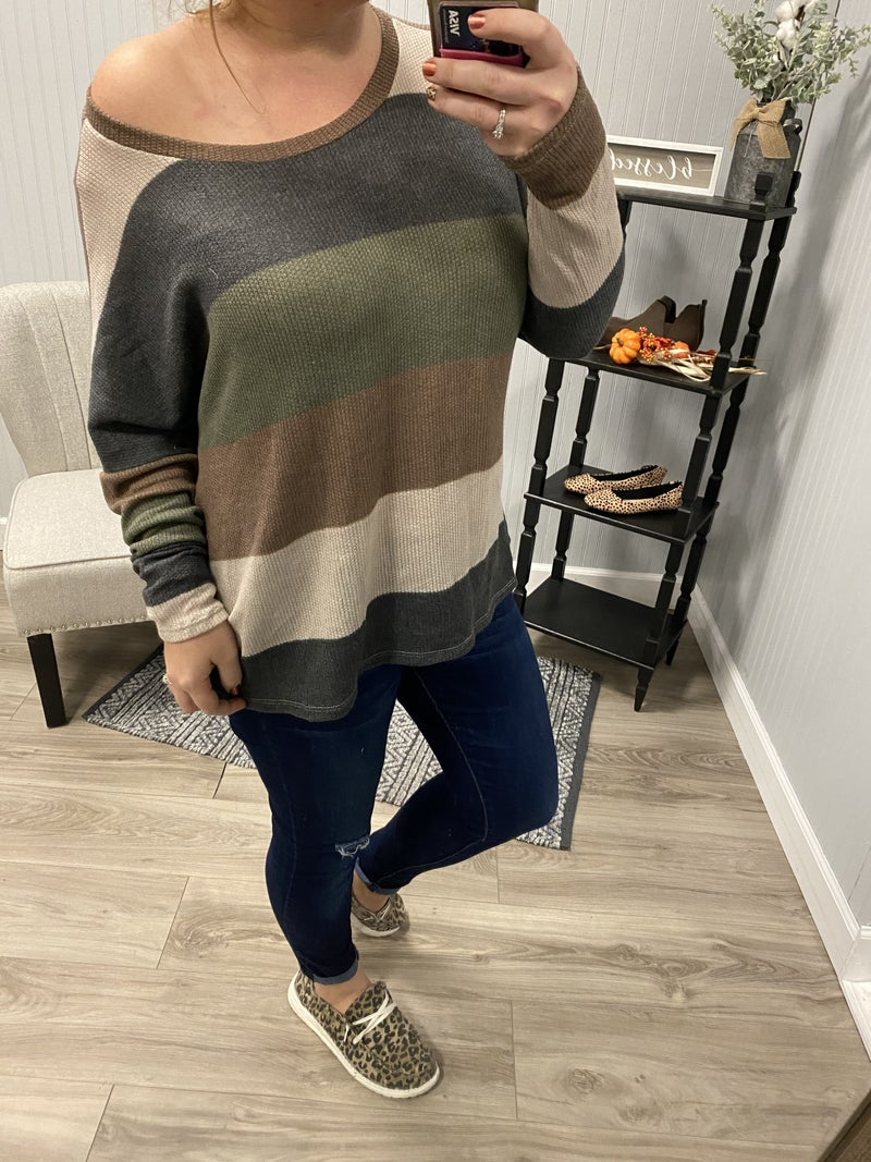 Fall Thick Stripe Slouchy Top