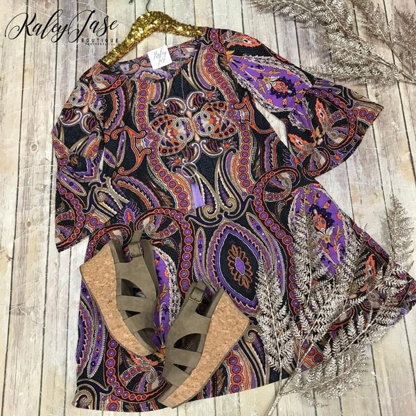Purple Orange Paisley Bell Sleeve Dress