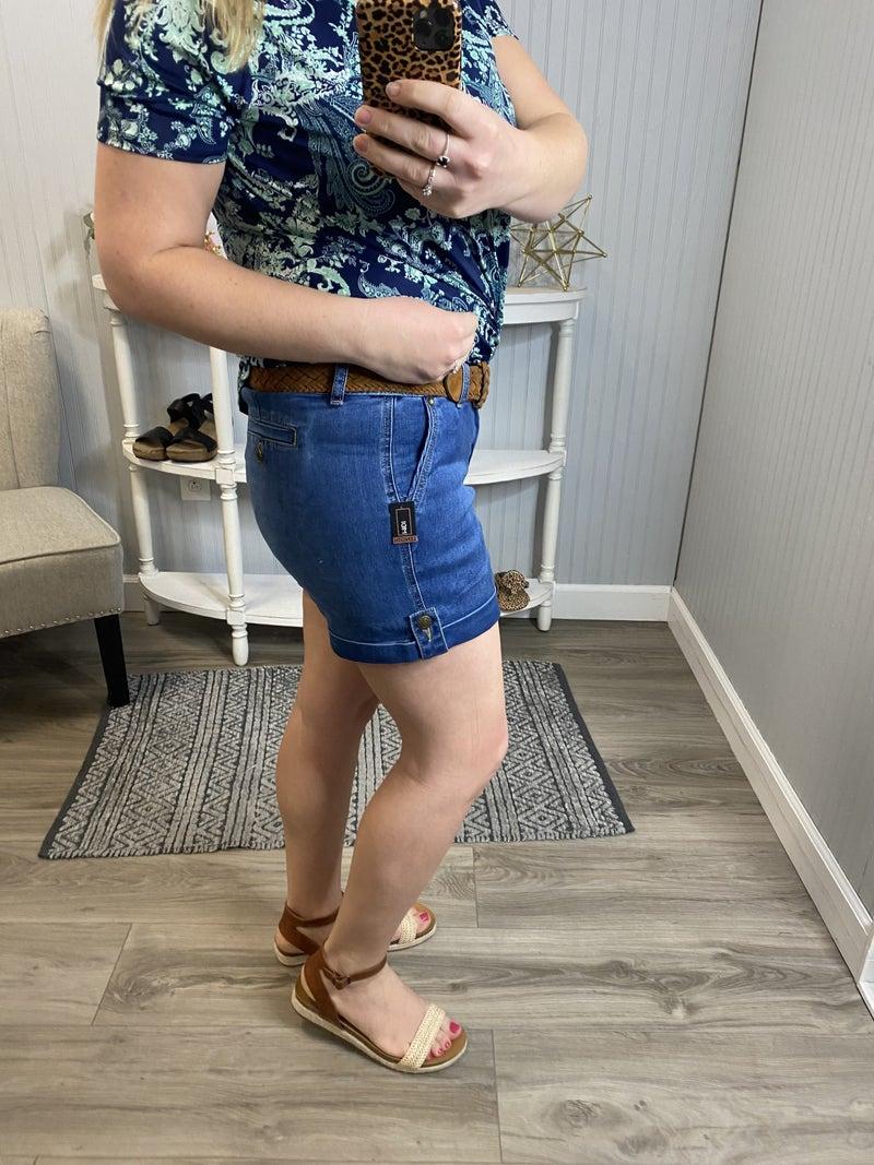 One5One Dark Wash Belted Jean Shorts