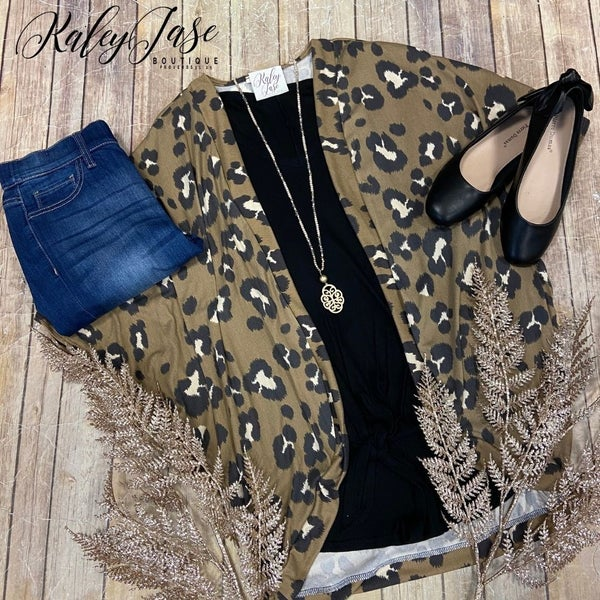 Soft Taupe Leopard Draped Cardigan