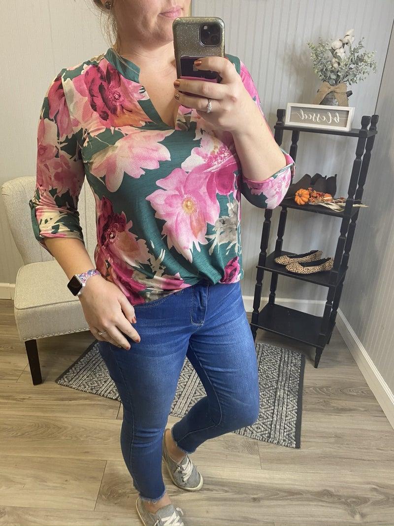 HMTeal Pink Floral Gabby Top