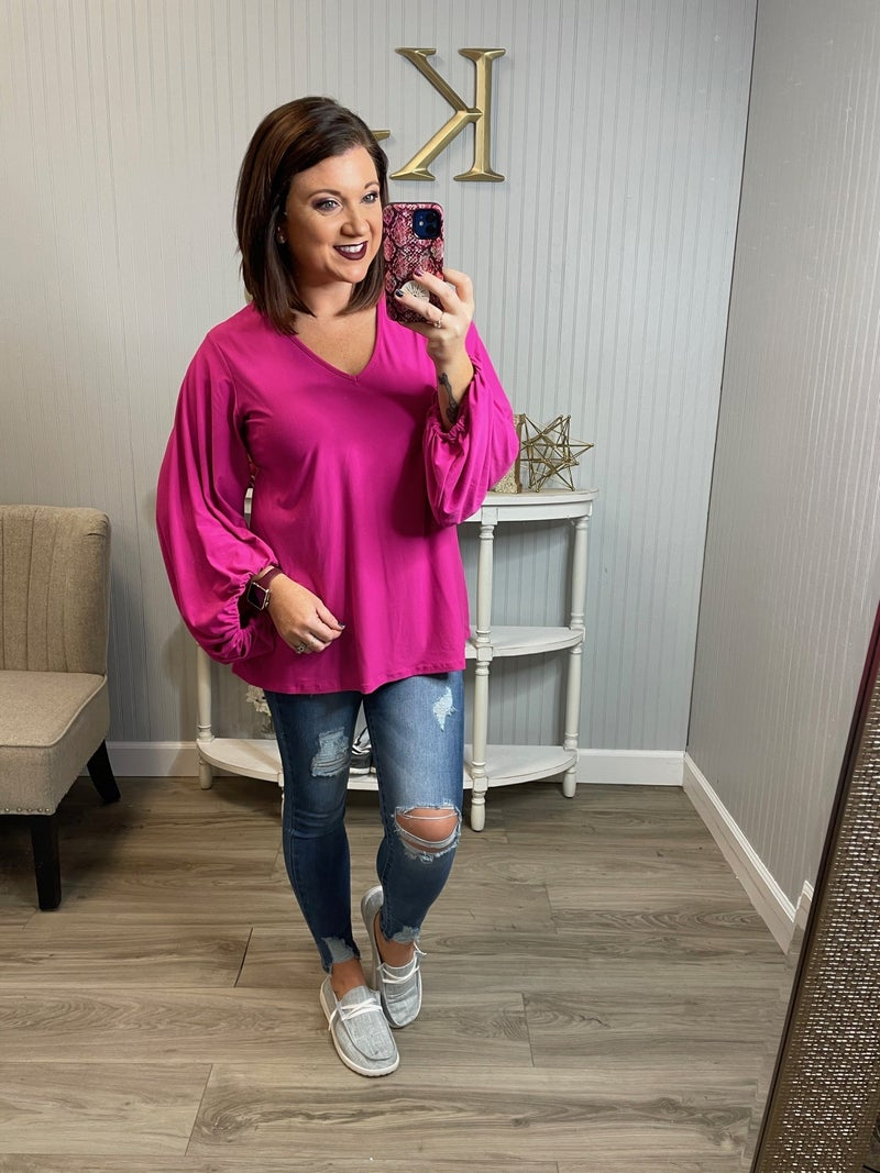 WB Solid Dressy Balloon Sleeve Top