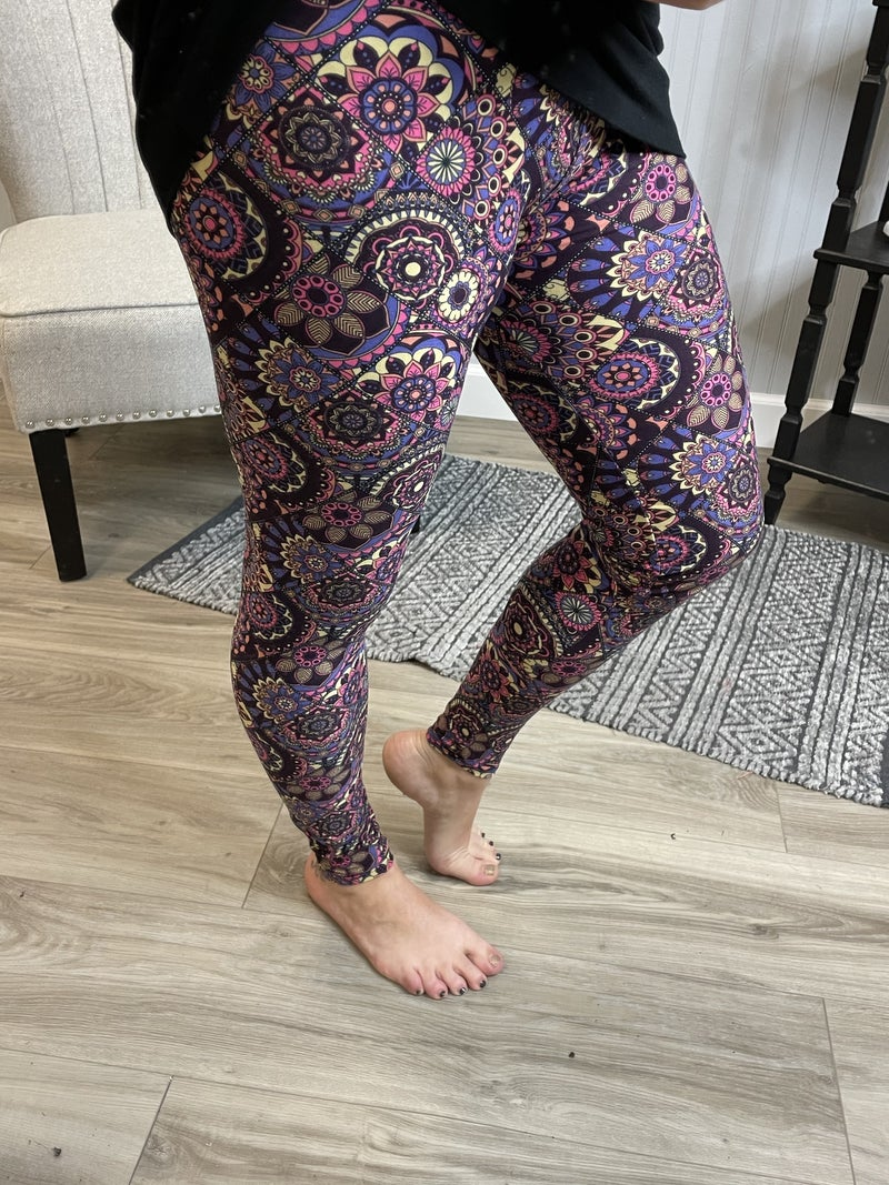 Super Soft Colored Mixed Paisley Leggings