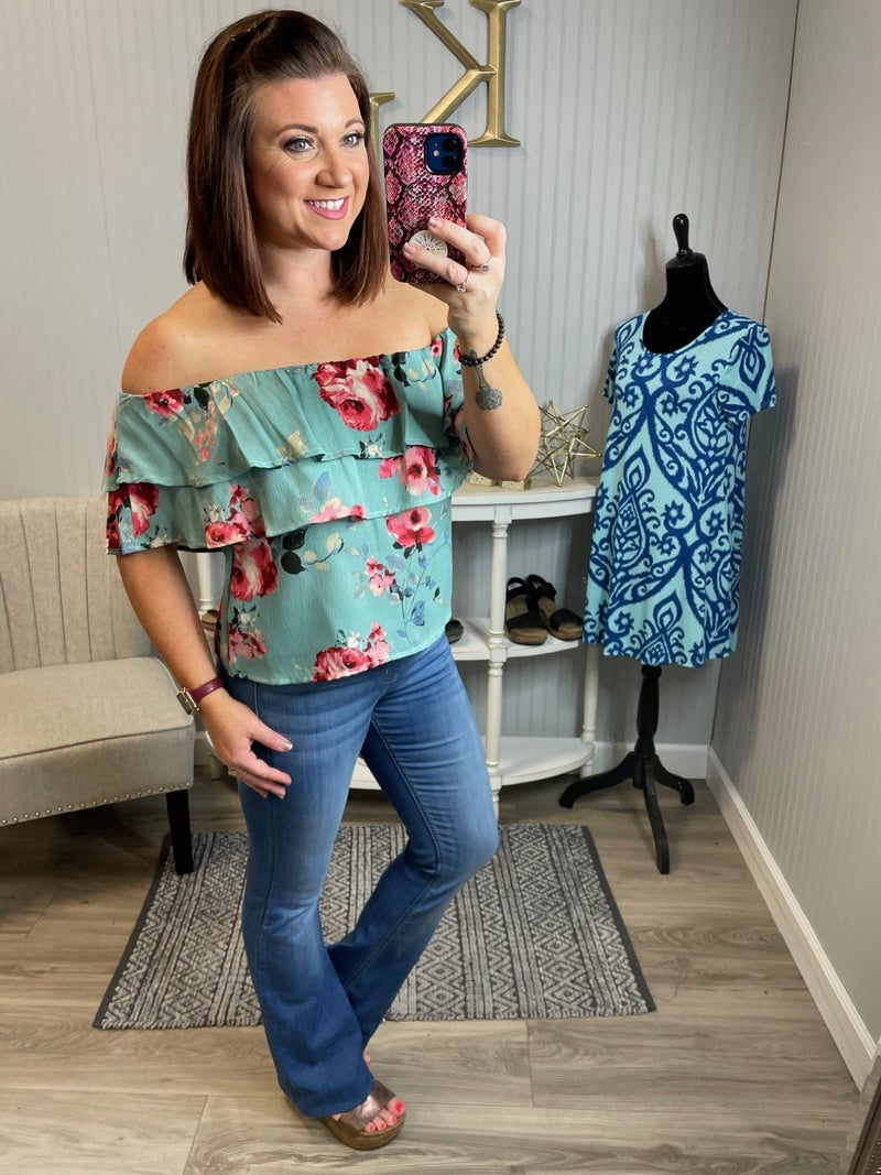 Dusty Mint Floral Off Shoulder Top
