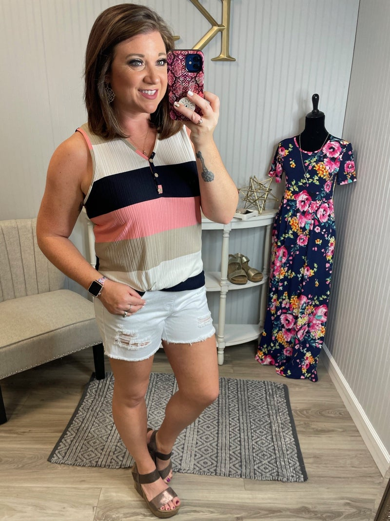 Navy Blush Thick Stripe Button Vneck Tank