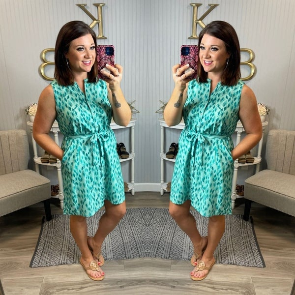 Mint Teal Patterned Design  Button Front Tie Dress