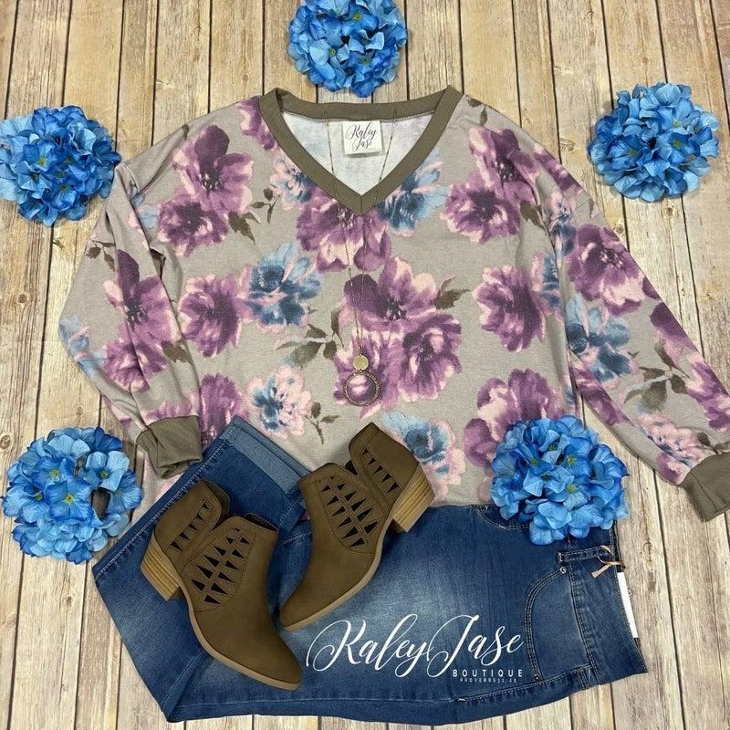 SIL Mocha Lavender Floral Vneck Top *Final Sale*