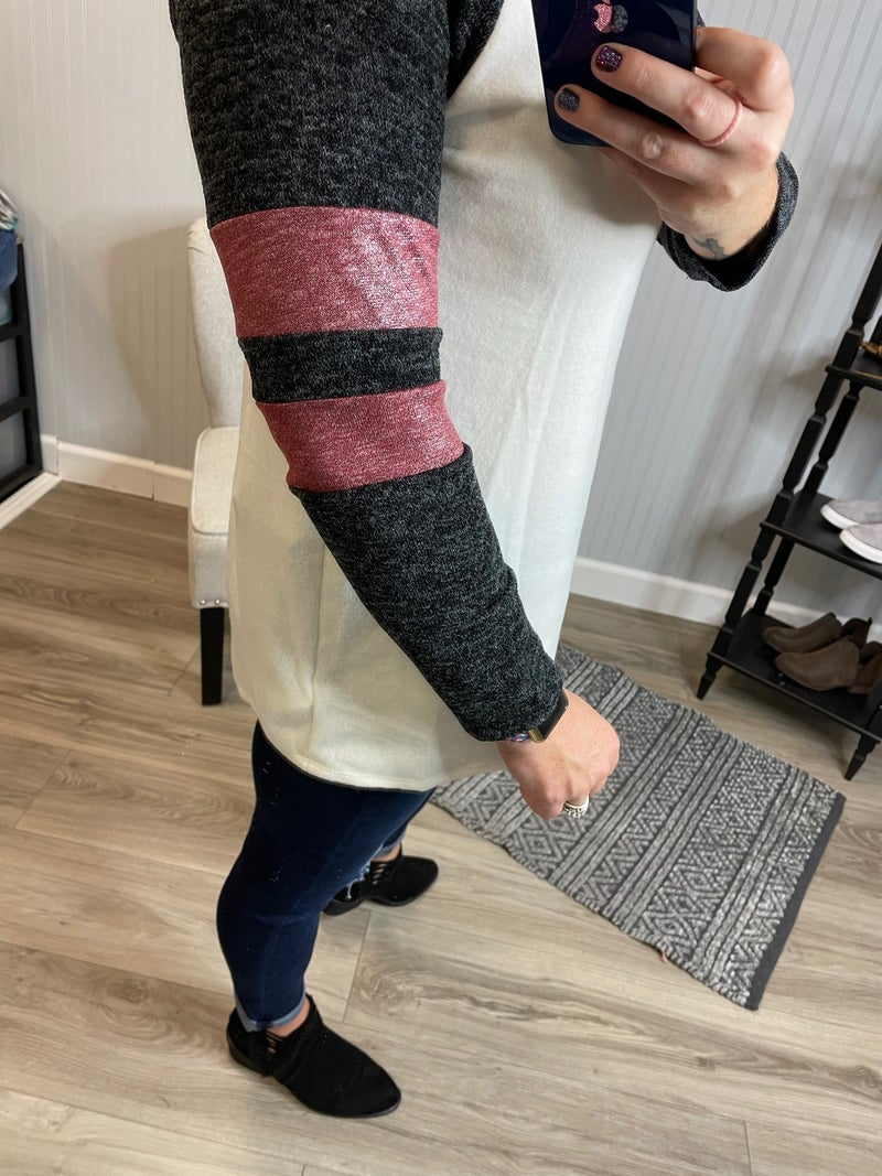 Ivory Charcoal Jersey Shimmer Top