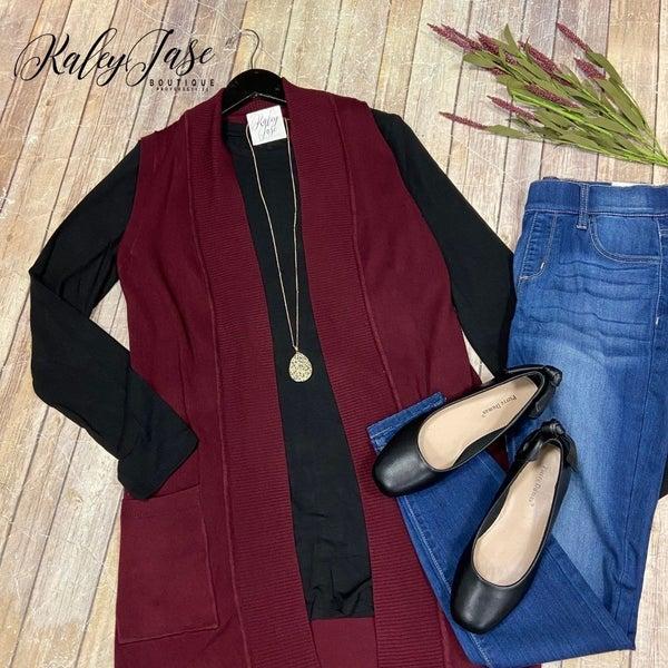 Burgundy Knit Open Vest
