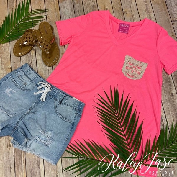 Solid Neon Pink Lace Pocket Top