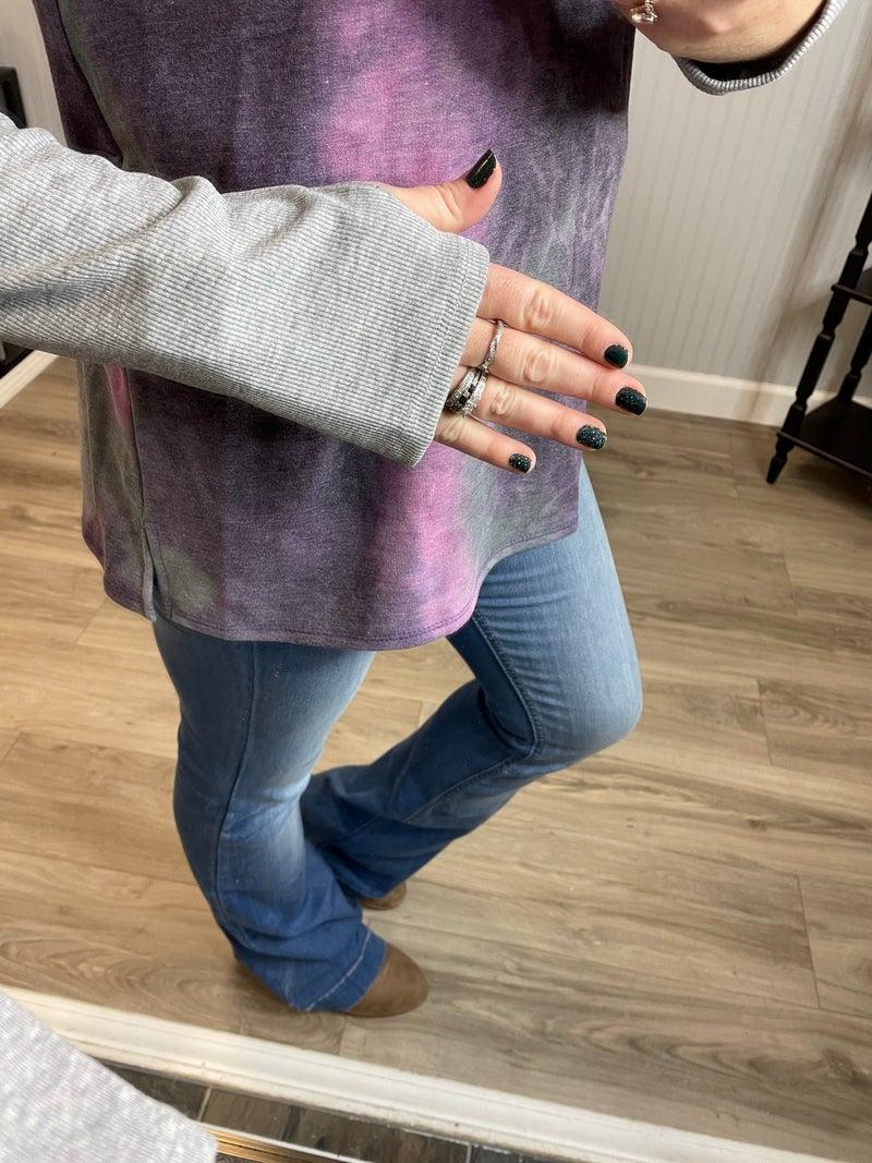 Purple Tie Dye Button Raglan Top