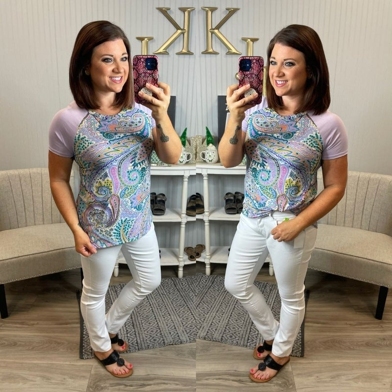 SIL Lavender Paisley SS Top