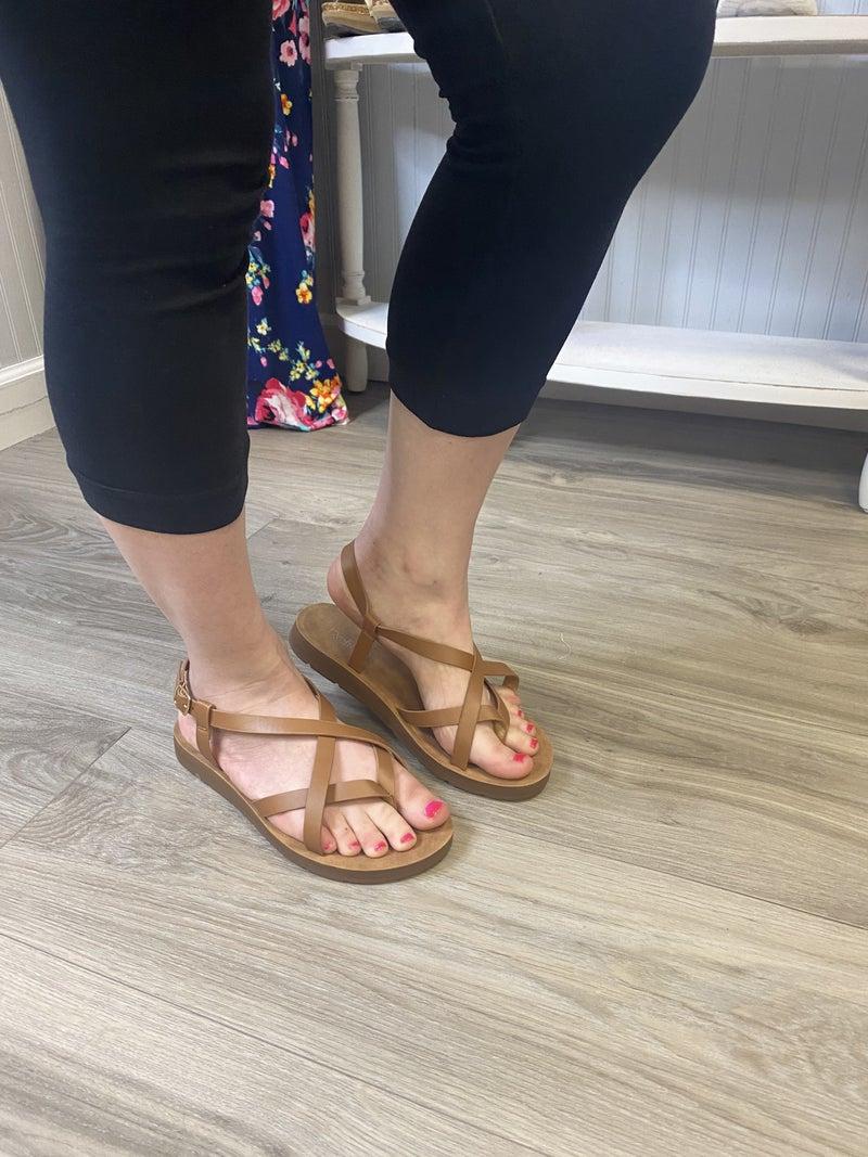 Tan Strappy Casual Sandal