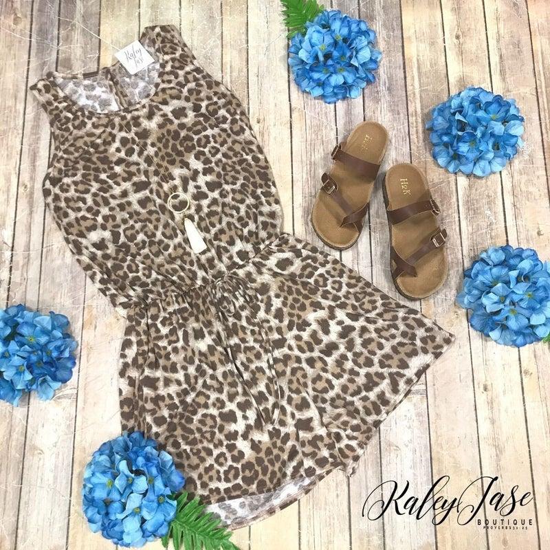 Brown Leopard Romper