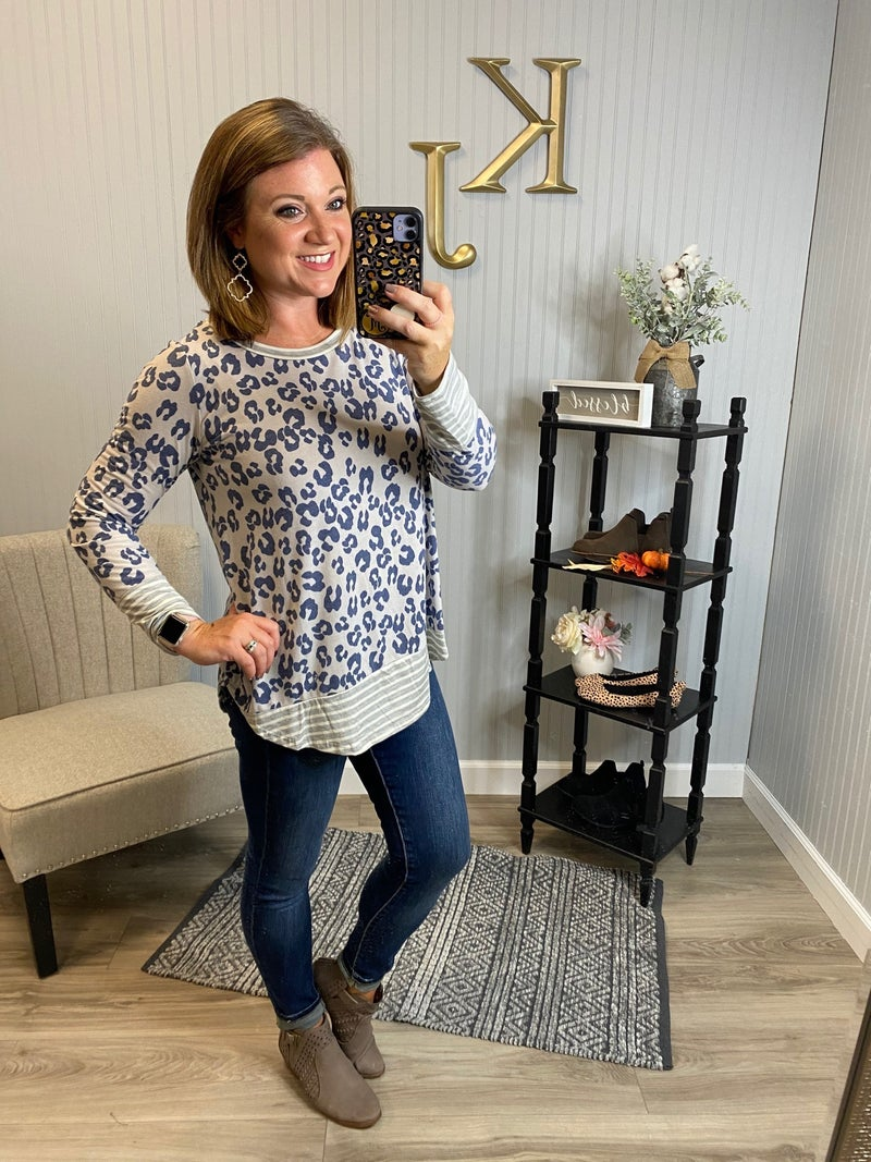 Leopard LS Stripe Bottom Top
