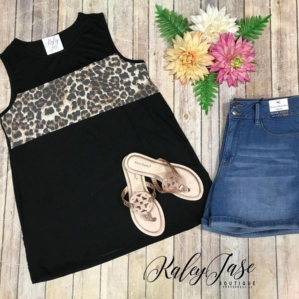 Black Leopard Colorblock Tank