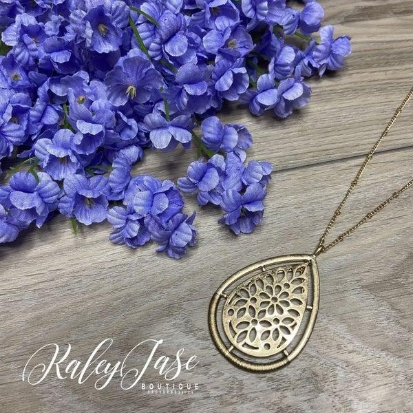 Gold Flower Drop Pendant Necklace #7