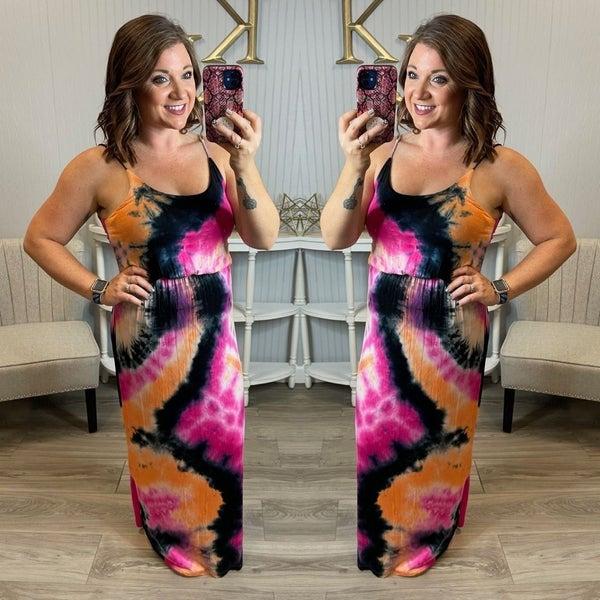 WB Fuchsia Black Tie Dye Maxi Dress
