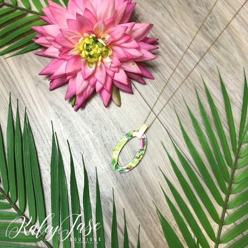 Oval Pattern Pendant Necklace #13