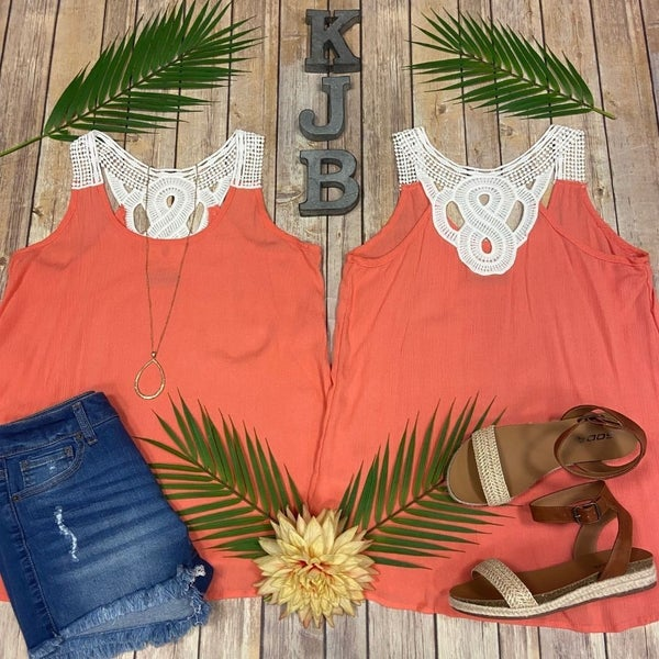 Coral Ivory Crochet Detailed Back Tank