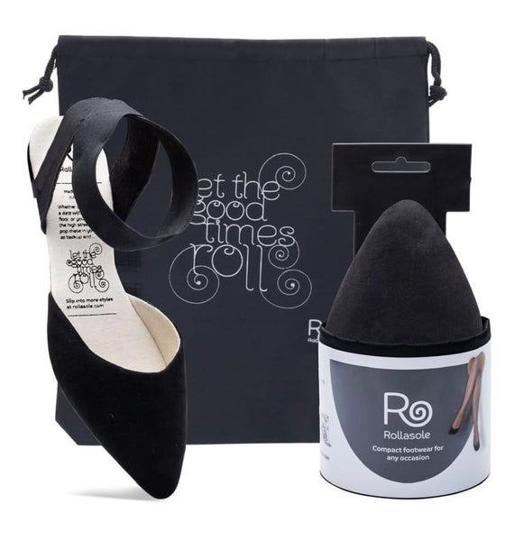 Rollasole Firefly Black Strappy Flats