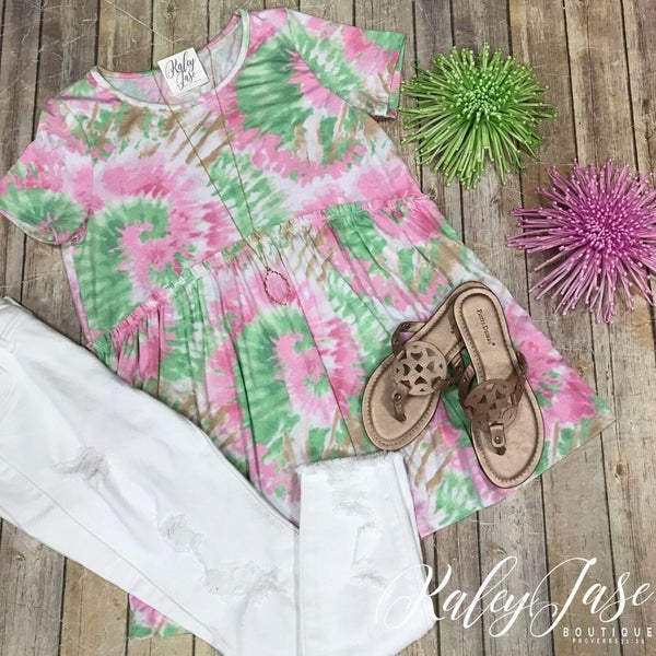 HM Lime/Pink Tie Dye Burst Babydoll Top