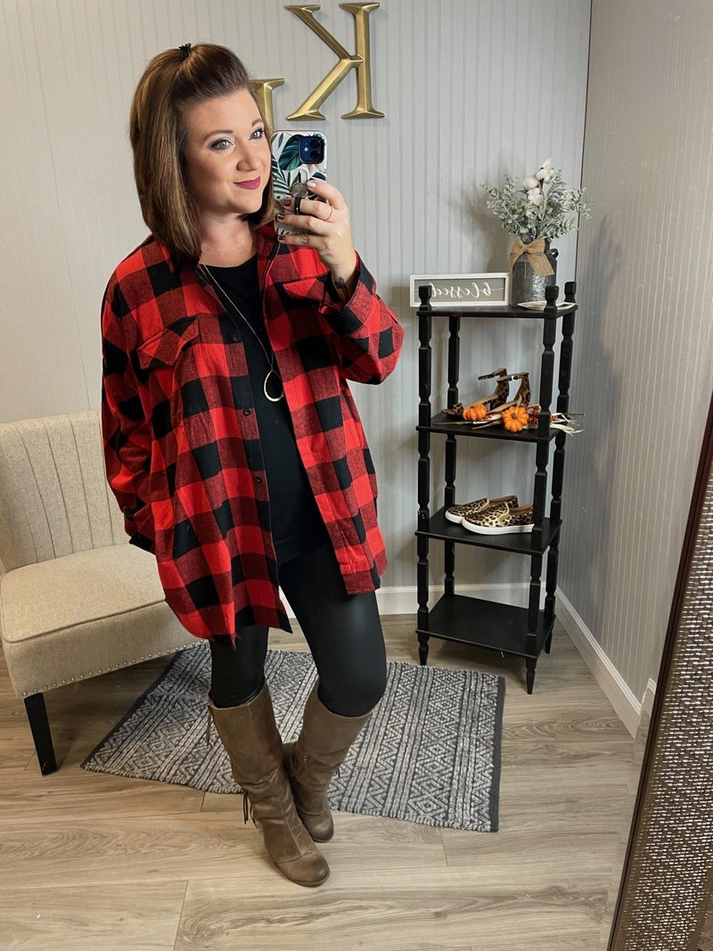 Red Black Plaid Tunic