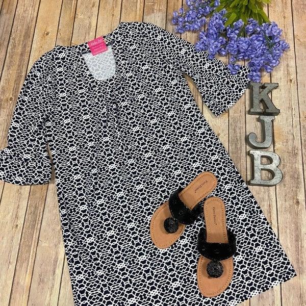 Aryeh Black Ivory Design Bell Sleeve Dress