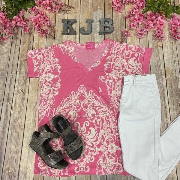 SIL Sleek Pink Damask Pocket Top