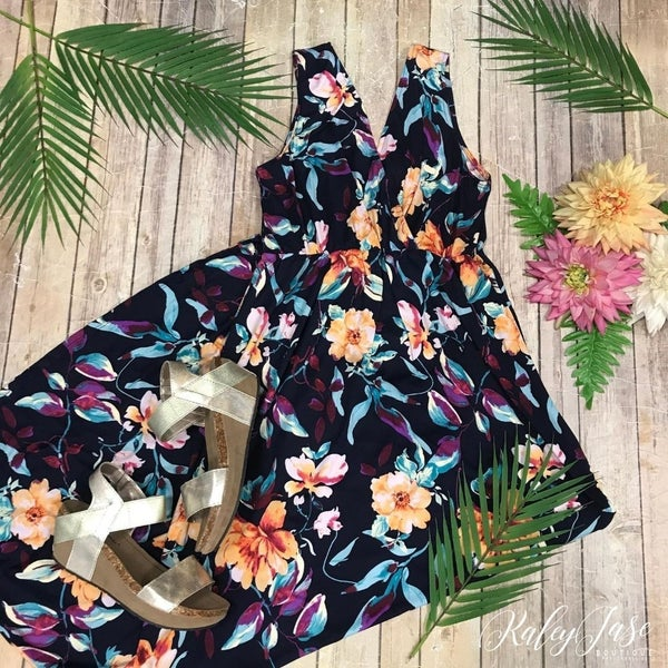 Navy Floral Wrap Top Maxi