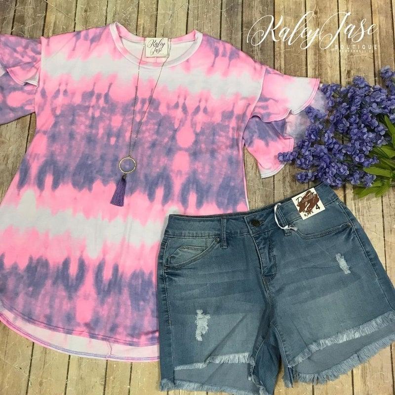 Neon Pink Lavender Tie Dye Tulip Sleeve