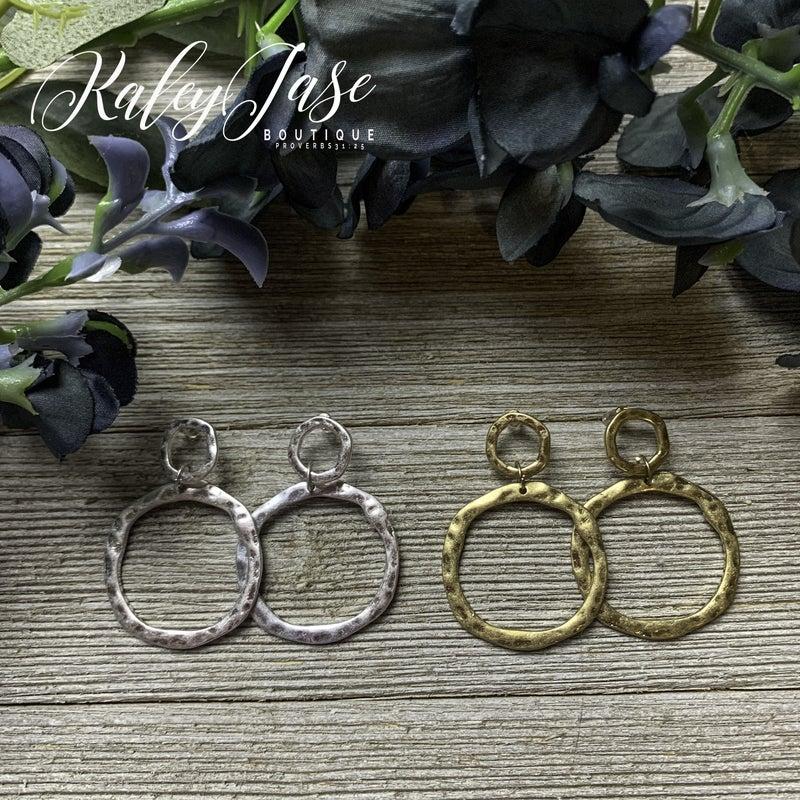 Double Circle Hammered Earrings -H5