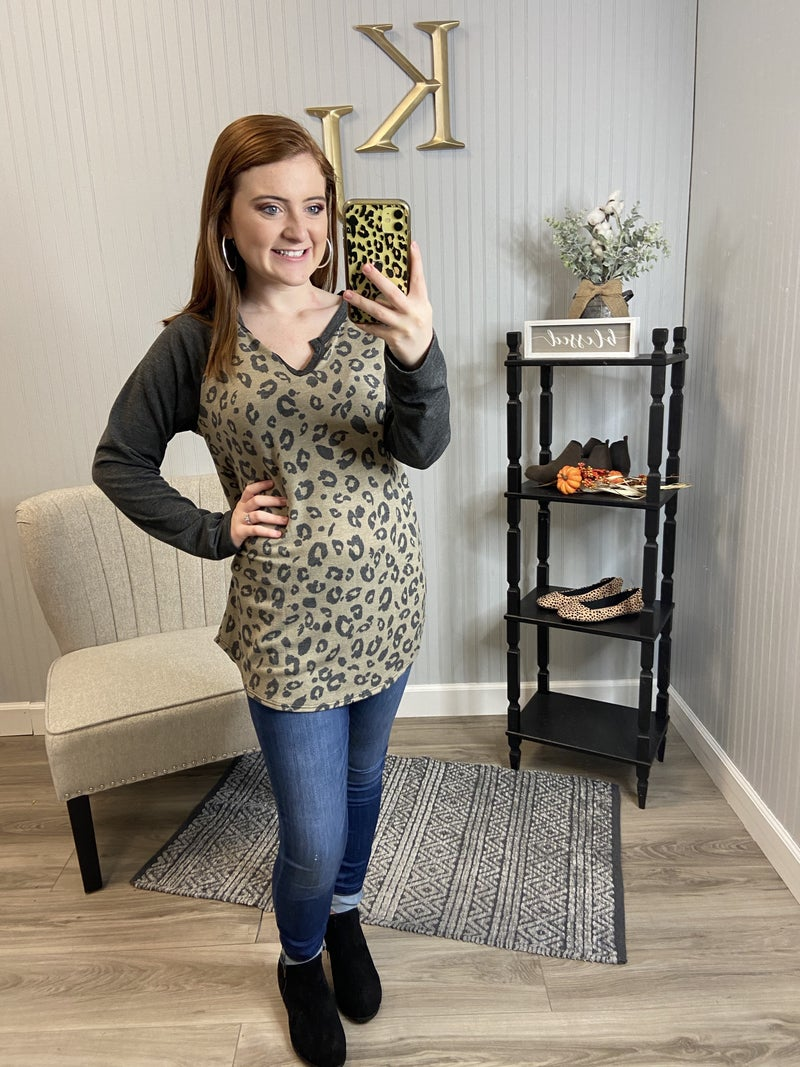Mocha Charcoal Leopard RaglanTop