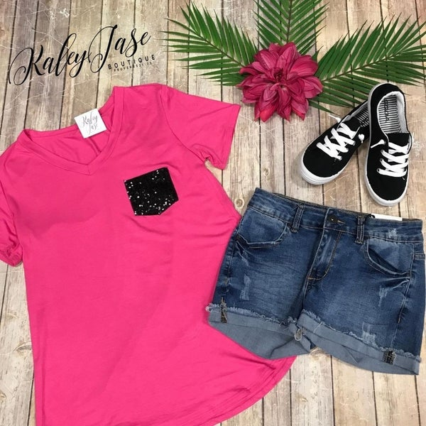 Fuchsia Sequin Pocket Top