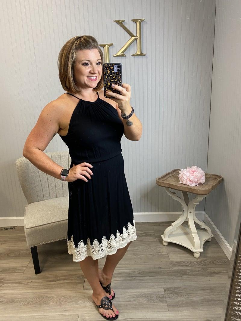 Black Halter Lace Bottom Dress