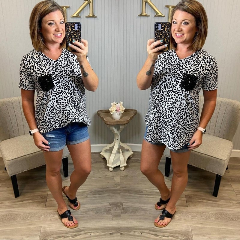 Ivory Leopard Sequin Pocket Top