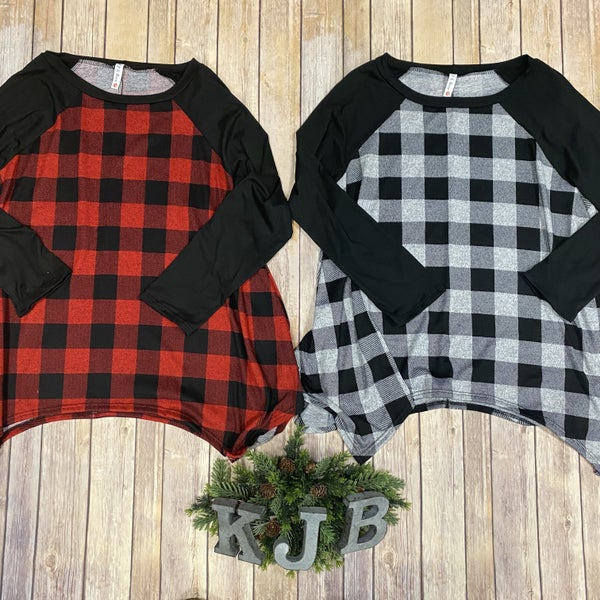 PR Plaid Raglan Sharkbite Tunic