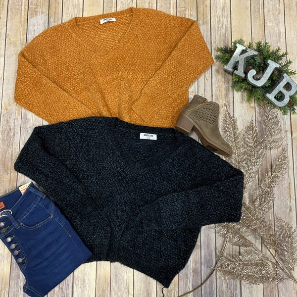 Vneck Soft Long Crop Sweater