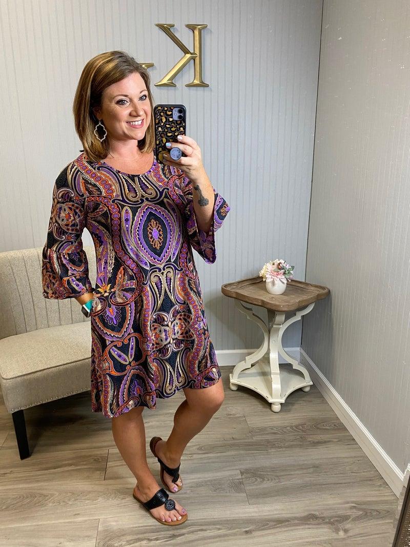 Purple Orange Paisley Bell Sleeve Dress