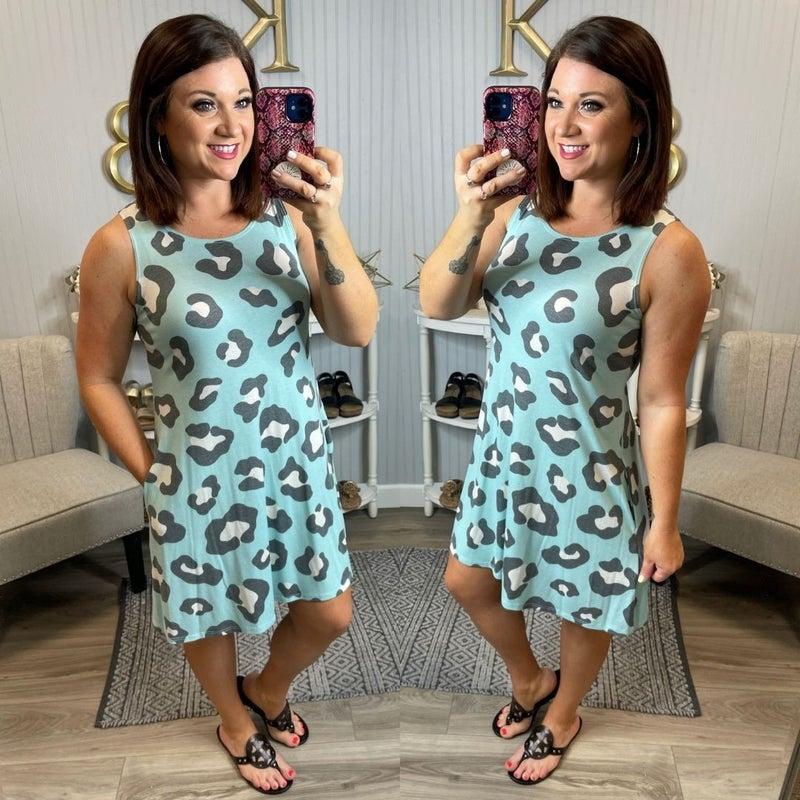 Mint Modern Leopard Sleeveless Swing Dress
